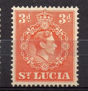St Lucia 1938 GVI Early Issue Fine Mint Hinged 3d. 082846