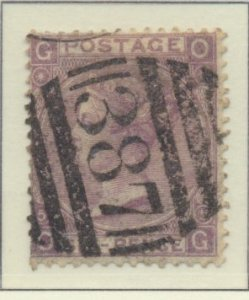 Great Britain Stamp Scott #45 Plate #5, Used, Heavy Hinge Remnants - Free U.S...