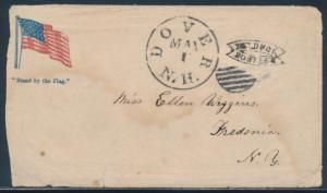 PATRIOTIC COVER W/ DOVER, N.H. MAY 1 HOLD FOR POSTAGE STAMPED W/ ENCLOSURE BU109