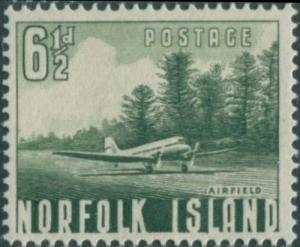 Norfolk Island 1953 SG14 6½d green Airfield MNH