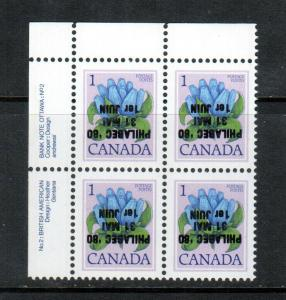 Canada #781iii Very Fine Never Hinged Inverted Philabec Overprint Plate Block