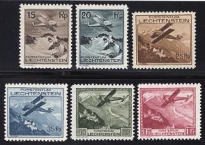 Lichtenstein #'s C1-C6 Air Post - Unused - O.G.