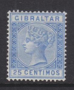 GIBRALTAR, 1889 25c. Ultramarine, heavy hinged mint.