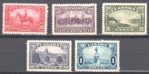 Canada #223 to 227 Mint XF NH $240.00 -- Perfect Centering -- Choice set