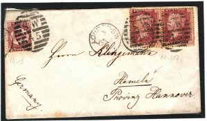 GB HALFPENNY p13 Cover London *HAMELN* Germany 1d Red Pair p187 1878 15.9