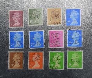 GB Stamps Perfins  Machin x 12       2     ~~L@@K~~