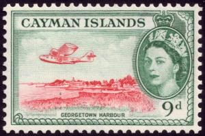 Cayman Islands 1954 9d Scarlet and Bluish Green SG 157 MH