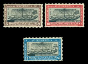 EGYPT 1926  Ship of Hatshepsut  PORT FOUAD  ovpt set  Scott # 121-123 mint MH