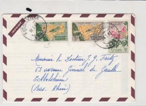 republique gambonaise gambia 1963 flowers stamps cover ref 21262