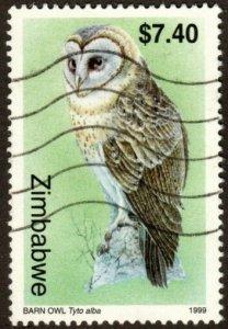 Zimbabwe 822 - Used - $7.40 Barn Owl (1999) (cv $1.00)