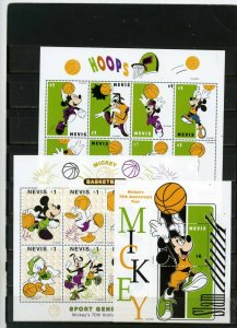 NEVIS 1998 WALT DISNEY BASKETBALL 2 SHEETS OF 8 STAMPS & S/S MNH