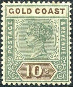 GOLD COAST-1900 10/- Green & Brown Sg 34  MOUNTED MINT V29754