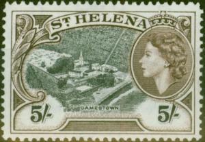 St Helena 1953 5s Black & Dp Brown SG164 V.F MNH