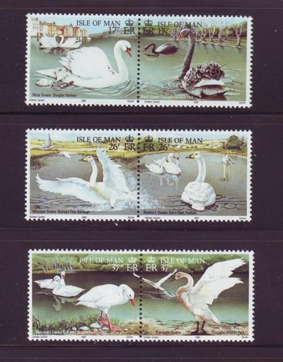 Isle of Man  Sc 482-7 1991 Swans stamp set mint NH