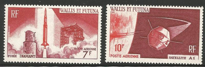 WALLIS & FUTUNA ISLANDS C22-C23, MNH, PAIR OF STAMPS, FRENCH SATELLITE A-1 IS...