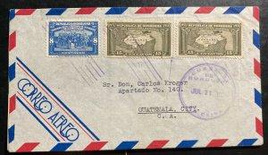 1938 La Ceiba Honduras Airmail Cover To Guatemala