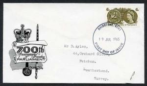 SG663p 1965 700th Parliament phosphor Illustrated First Day Cover