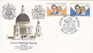 Cocos Islands # 73-74, Royal Wedding, Prince Charles & Diana, First Day Cover