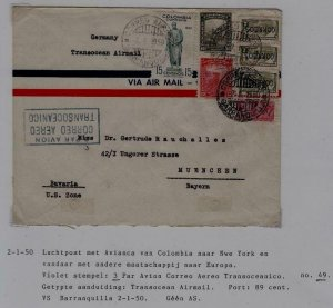 Colombia/Germany airmail cover 2.1.50