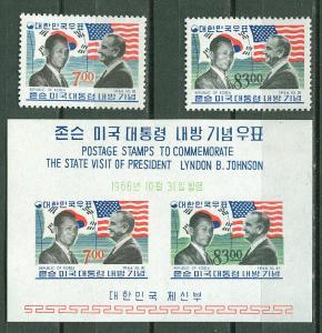 Korea # 544-45,545a L.B.Johnson Visit   (3) Mint NH