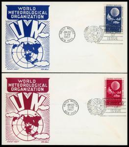 UN FDC #49-50 World Meterologic Organization - Cachet Craft - Boll Cachet