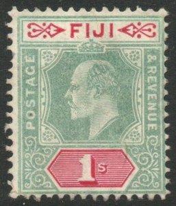 FIJI-1909 1/- Green & Carmine Sg 117 AVERAGE MOUNTED MINT V46456