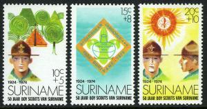 Surinam B208-210, MNH. Surinam Boy Scouts, 50th anniv. 1974