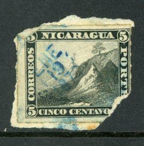 Nicaragua 1877  5¢ Black Momotombo Roulette VFU L333