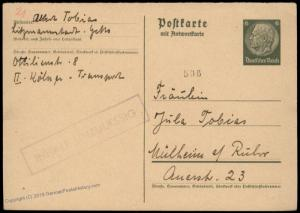 Germany 1941 Lodz Litzmannstadt Ghetto Returned by Censored Cover 83948