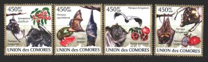 Comoro Islands. 2009. 2455-59 in a series. The bats. MNH.