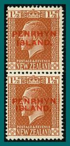 Penrhyn Island 1919 King George V, both Opts in pair, 1.5d MNH #19,SG30,SG30a