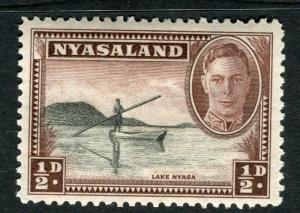 NYASALAND;  1945 early GVI issue fine Mint hinged 1/2d. value