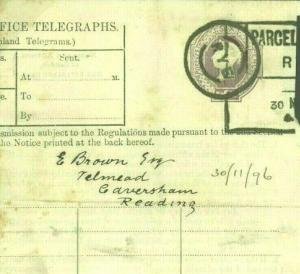 QV 6d Telegraph Form Used 1896 As PARCEL POST LABEL *Rye* Sussex {samwells}T21b