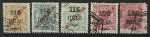 Zambezia 1902 115 and 130 reis overprinted on various values used