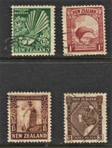 STAMP STATION PERTH New Zealand #185-187,190 FU Wmk.61 CV$35.00