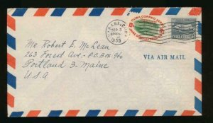 CUBA (US) 1955 AIR MAIL TO PORTLAND MAINE