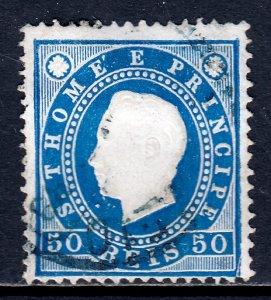 St. Thomas and Prince Islands - Scott #20 - Used - Hinge crease - SCV $2.50