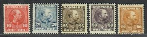 $Denmark Sc#65-69 M/F-VF, complete set, #65+67 have small thins, Cv. $177
