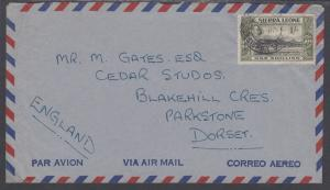 Sierra Leone Sc 181 on 1951 Air Mail Cover to Dorset, England