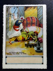 German Poster Stamp - 1001 Nights - Fisheman & Genie, Evil Woman