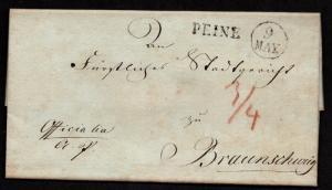 $German Stampless Cover, Peine-Braunschweig