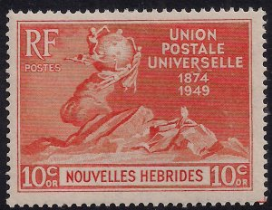 New Hebrides 1949 KGV1 10ct Orange ( French ) Umm SG F77 ( R277 )