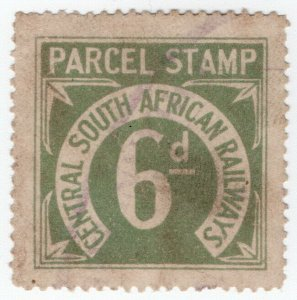 (I.B) Transvaal Railways : CSAR Parcel Stamp 6d