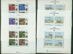 PORTUGAL AZORES MADEIRA, 1990 & 1994 Europa S/S, og, NH, 6 total, Scott $53.50