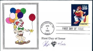 Beautiful Pugh Designed and Painted Circus Clown FDC -only 129 created...