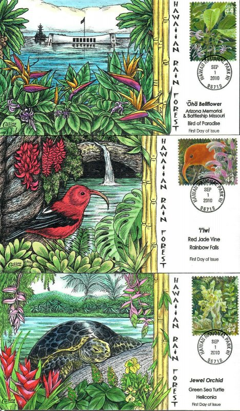 US Collins FDC Sc#4474 Hawaiian Rain Forest Set Of 10
