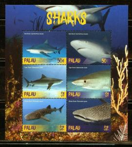 PALAU 2019  SHARKS  SHEET OF SIX  MINT NEVER HINGED