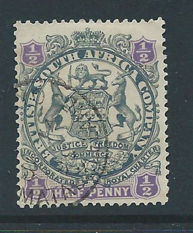 Rhodesia, BSAC, 1896, ARMS, Die 2 - Shaded Lion, 1/2d used
