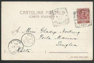 MALTA 1905 postcard ex Italy, Malta & cospicua arrival pmks................61001