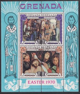 Grenada 1970 Sc 357b Easter Paintings by Memling & Rubens Artist Stamp SS CTO NH